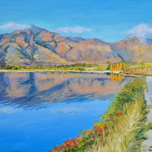 (CreativeWork) Lake Wanaka Morning Reflections by Dai Wynn. oil-painting. Shop online at Bluethumb.