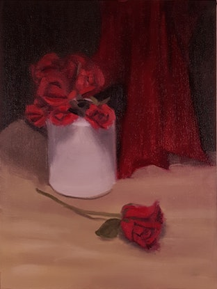 (CreativeWork) Still Life with Red Roses by Rohan Skellams. Oil Paint. Shop online at Bluethumb.