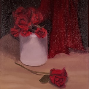 (CreativeWork) Still Life with Red Roses by Rohan Skellams. oil-painting. Shop online at Bluethumb.