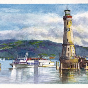 (CreativeWork) Lindau Harbour on Lake Constance/Konstanz/Bodensee by Dai Wynn. watercolour. Shop online at Bluethumb.