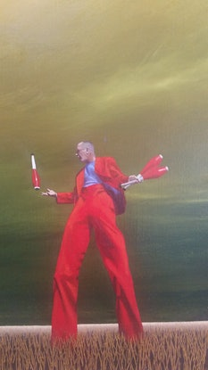 (CreativeWork) Clowning Around by James Robertson. Oil. Shop online at Bluethumb.