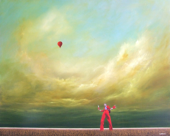 (CreativeWork) Clowning Around by James Robertson. oil-painting. Shop online at Bluethumb.