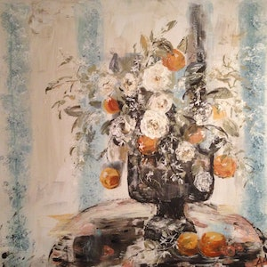 (CreativeWork) Oranges and camellias by Anita Parker. mixed-media. Shop online at Bluethumb.
