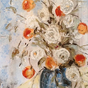 (CreativeWork) Rosy oranges  by Anita Parker. acrylic-painting. Shop online at Bluethumb.