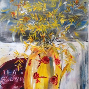 (CreativeWork) Tea and scones  by Anita Parker. acrylic-painting. Shop online at Bluethumb.