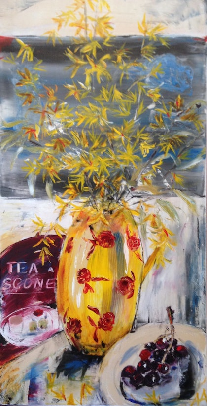 (CreativeWork) Tea and scones  by Anita Parker. arcylic-painting. Shop online at Bluethumb.