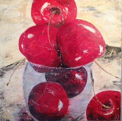 (CreativeWork) Cherries In a glass by Anita Parker. arcylic-painting. Shop online at Bluethumb.