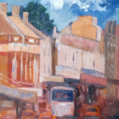 (CreativeWork) Newtown. Action by Gennady Veremeenko. Oil Paint. Shop online at Bluethumb.