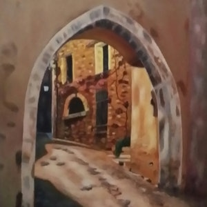 (CreativeWork) Archway in Provence, France by Heather Browne. oil-painting. Shop online at Bluethumb.