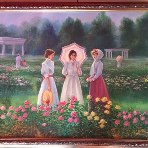 "(CreativeWork) Ladies in a Rose Field by Bruce ""Notty"" Notman. oil-painting. Shop online at Bluethumb."