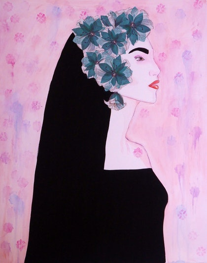 (CreativeWork) Flowers in her hair by Gaye Tait. mixed-media. Shop online at Bluethumb.