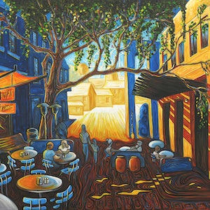 (CreativeWork) Argyle Street at the Rocks by Peter Sesselmann. oil-painting. Shop online at Bluethumb.