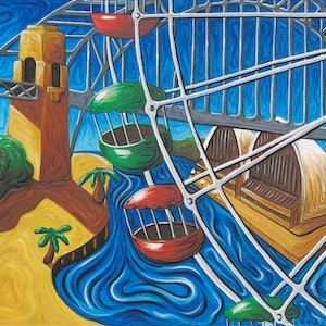 (CreativeWork) Opera House and Bridge through Ferris Wheel by Peter Sesselmann. oil-painting. Shop online at Bluethumb.