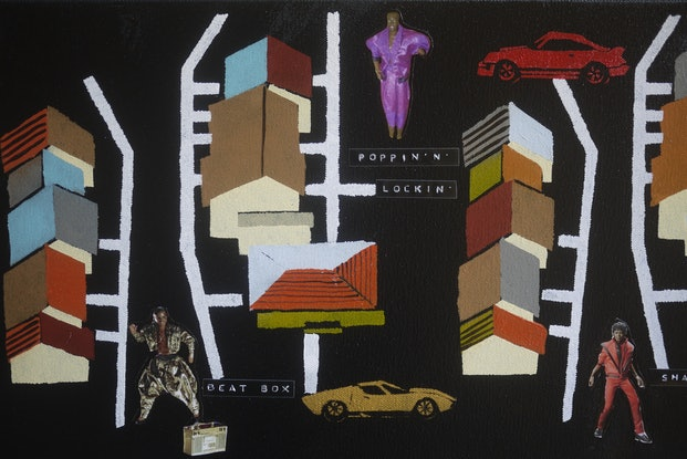 (CreativeWork) Block Party Circa 87' by Kelly Sullivan. Mixed Media. Shop online at Bluethumb.