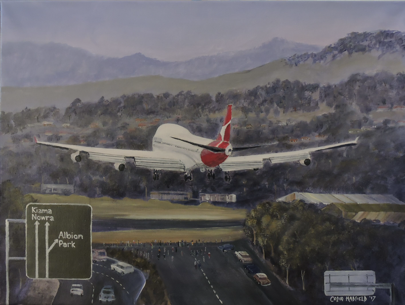 (CreativeWork) 747 Landing at Albion Park  by Colin Hadfield. arcylic-painting. Shop online at Bluethumb.