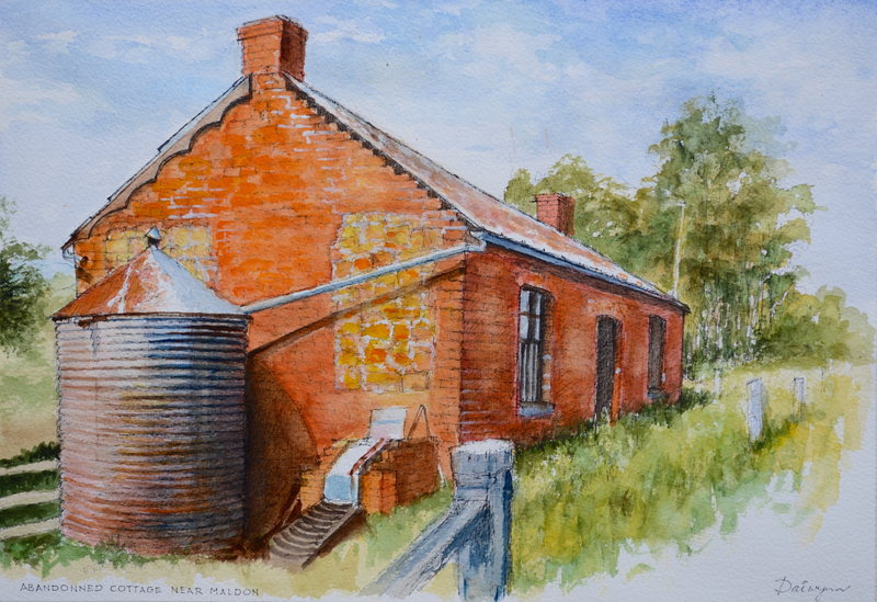 (CreativeWork) Abandoned cottage near Maldon, Central Goldfields, Victoria by Dai Wynn. watercolour. Shop online at Bluethumb.
