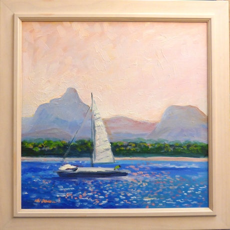 (CreativeWork) Bribie Island , across Pumicestone Passage , Sunday Sailing. by Virginia McGowan. Oil Paint. Shop online at Bluethumb.