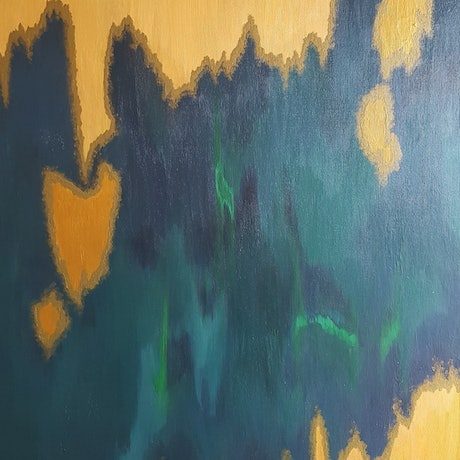 (CreativeWork) Green and Gold by Negin Naderi. Acrylic Paint. Shop online at Bluethumb.