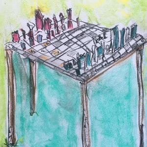 (CreativeWork) CHESS with *ASTRAL WALLY* by Gregory Charles. drawing. Shop online at Bluethumb.