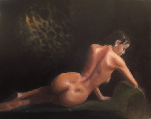 (CreativeWork) Reclining Nude 1 by Jamie Brown. Oil. Shop online at Bluethumb.