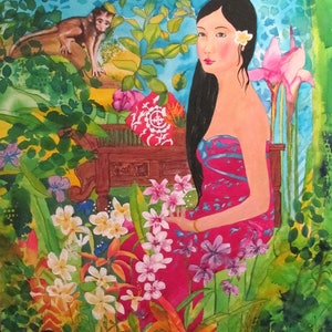 (CreativeWork) Serenity in the Garden of Peace by Helen Dubrovich. arcylic-painting. Shop online at Bluethumb.