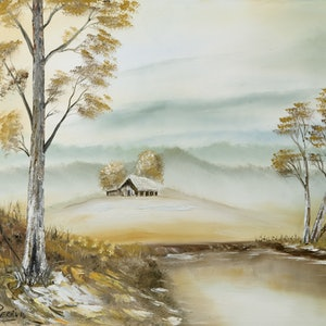 (CreativeWork) Autumn Australian Landscape by charles perri. oil-painting. Shop online at Bluethumb.