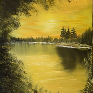 (CreativeWork) Golden Sunset by charles perri. oil-painting. Shop online at Bluethumb.