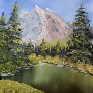 (CreativeWork) Pine Ridge Mountain by charles perri. oil-painting. Shop online at Bluethumb.