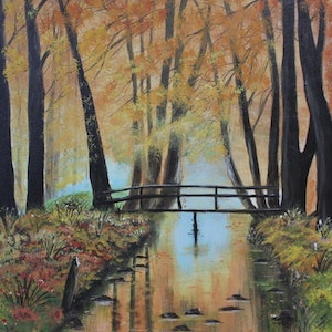 (CreativeWork) bridge over channel  by charles perri. arcylic-painting. Shop online at Bluethumb.