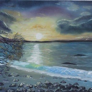 (CreativeWork) Fading Light Over Stony Point by charles perri. oil-painting. Shop online at Bluethumb.