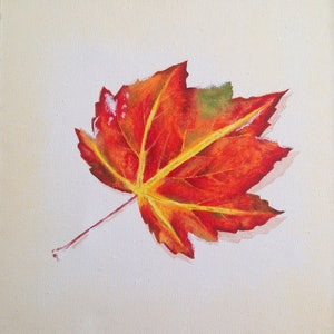 (CreativeWork) Autumn Leaf on Snow by Andrea Marriette. arcylic-painting. Shop online at Bluethumb.