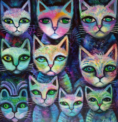 (CreativeWork) Alley Cats by Karin Zeller. Acrylic Paint. Shop online at Bluethumb.