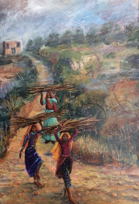 (CreativeWork) The Wood Gatherers by Sue Hill. Acrylic Paint. Shop online at Bluethumb.