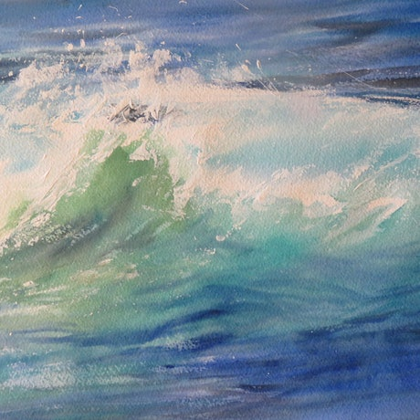 (CreativeWork) Ocean Wave by Stephanie Boyle. Watercolour Paint. Shop online at Bluethumb.