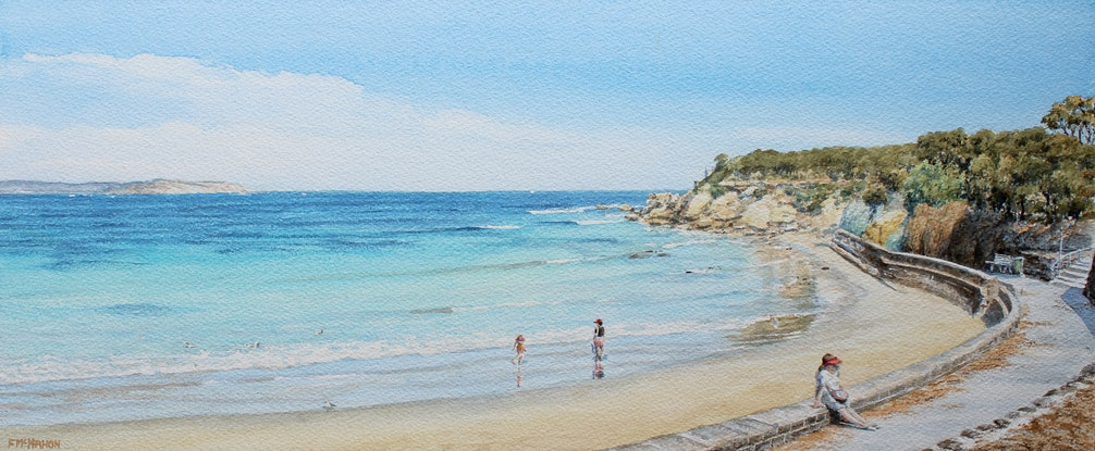 (CreativeWork) Point Lonsdale Front Beach by Francis McMahon. Watercolour Paint. Shop online at Bluethumb.