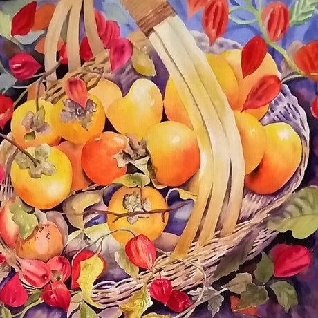 (CreativeWork) 'Golden Persimmons' by Susan Capan. Watercolour Paint. Shop online at Bluethumb.