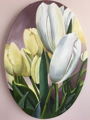 (CreativeWork) White and Yellow Tulips by Rosanne Steele. Acrylic Paint. Shop online at Bluethumb.