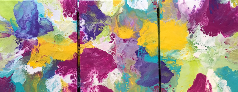 """(CreativeWork) ORIGINAL ABSTRACT ART PAINTINGS x 3 TRIPTYCH ON STRETCHED CANVAS  """"COLOUR POP 1""""  BLUE WHITE PURPLE PINK YELLOW LIME TURQUOISE by Debra Ryan. Mixed Media. Shop online at Bluethumb."""