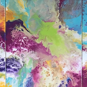 """(CreativeWork) ORIGINAL ABSTRACT ART PAINTINGS x 3 TRIPTYCH ON STRETCHED CANVAS  """"COLOUR POP 2""""  BLUE WHITE PURPLE PINK YELLOW LIME TURQUOISE by Debra Ryan. mixed-media. Shop online at Bluethumb."""