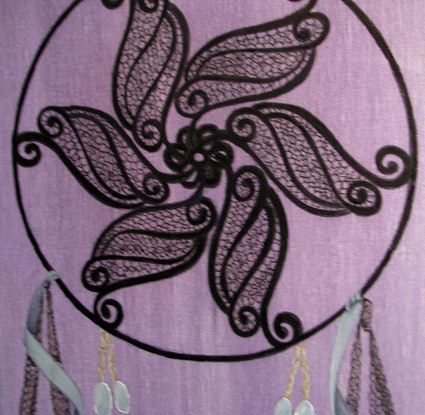 (CreativeWork) Black Dreamcatcher by Brianne Gatehouse. Acrylic Paint. Shop online at Bluethumb.
