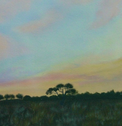 (CreativeWork) Near Sunset by Doodie Herman. Acrylic Paint. Shop online at Bluethumb.
