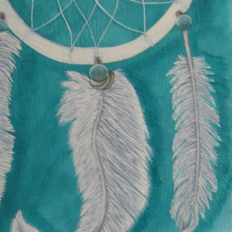 (CreativeWork) White Dreamcatcher by Brianne Gatehouse. Acrylic Paint. Shop online at Bluethumb.