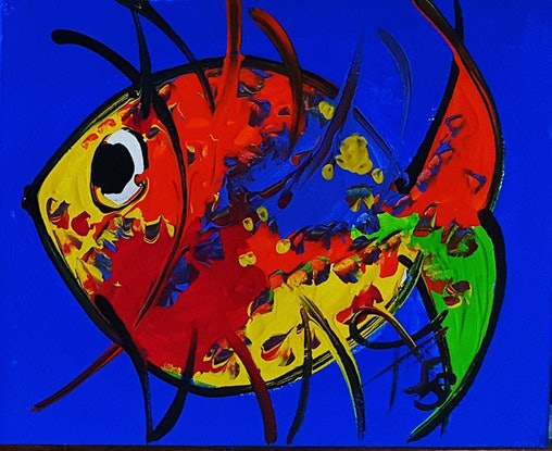 (CreativeWork) Little Gem Colourbust Series Happy fish with a n Cobalt Blue Background by Louise Stewart-Brown. Acrylic Paint. Shop online at Bluethumb.