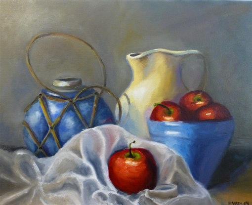 (CreativeWork) Apples and Pottery by Elizabeth Varley. Oil Paint. Shop online at Bluethumb.
