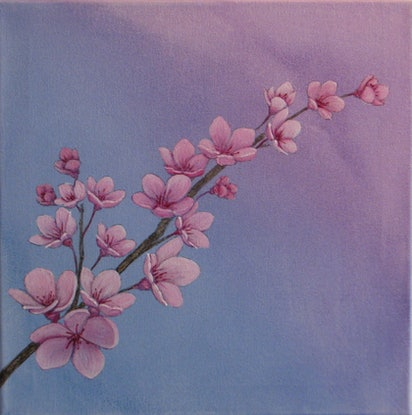 (CreativeWork) Pink Blossom on Blue by Julie-Anne Gatehouse. Acrylic Paint. Shop online at Bluethumb.