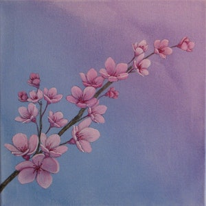 (CreativeWork) Pink Blossom on Blue by Julie-Anne Gatehouse. arcylic-painting. Shop online at Bluethumb.