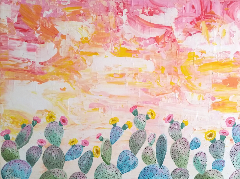 (CreativeWork) Succulent Sunset by Emily Lauro. Acrylic Paint. Shop online at Bluethumb.