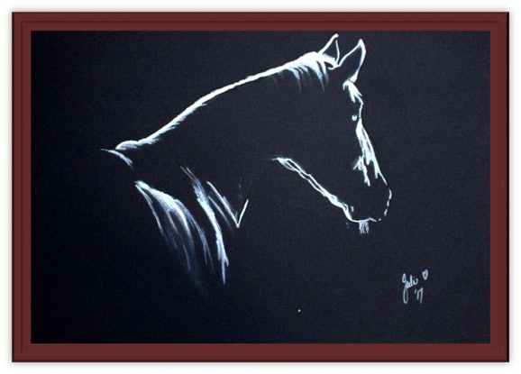 (CreativeWork) Horse in Silhouette #11 by julie hollis. Acrylic Paint. Shop online at Bluethumb.