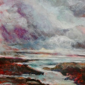 (CreativeWork) It's brewing by Sue Hill. arcylic-painting. Shop online at Bluethumb.