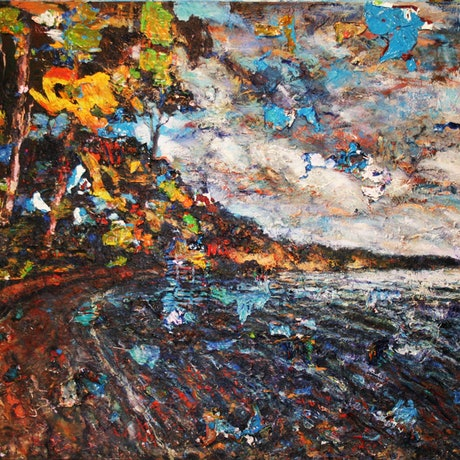 (CreativeWork) Canada Bay Sunrise by tomas maceiras. Acrylic Paint. Shop online at Bluethumb.
